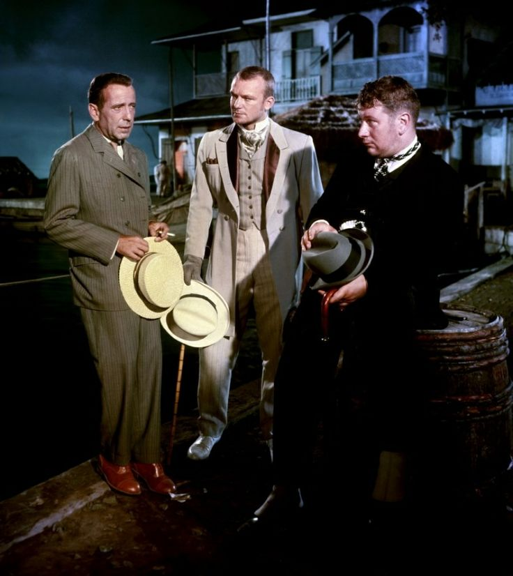 Humphrey Bogart, Aldo Ray and Peter Ustinov in We're no angels directed by Michael Curtyz, 1955