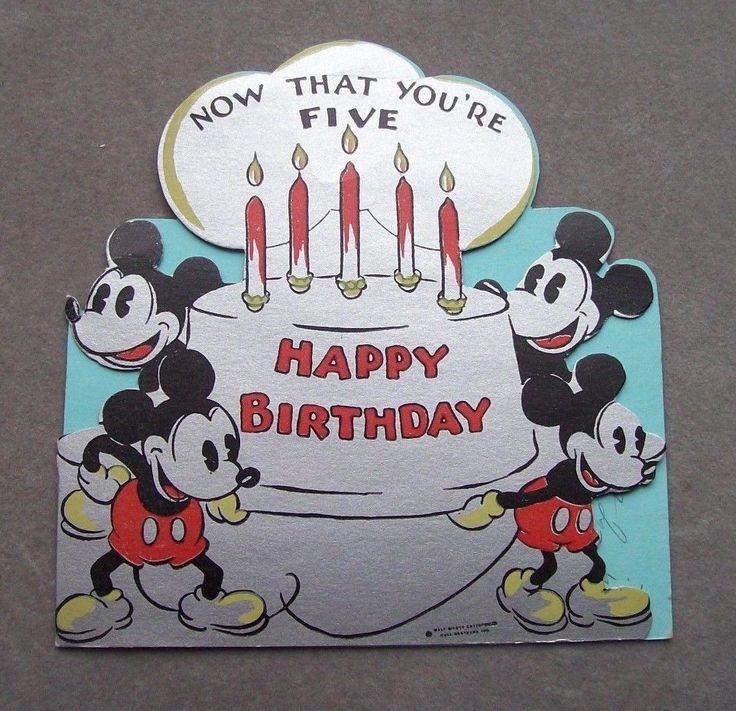 10 B 505 Mickey Mouse 5th birthday card Original mickey
