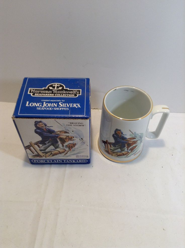 1985 Vintage Norman Rockwell Tankard Mug Braving The Storm Long John Silver