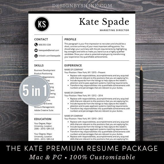Cv Professional Template Cv Template Word Or Mac Pages Instant Etsy Free Cover Letter Resume Template Resume Template Professional