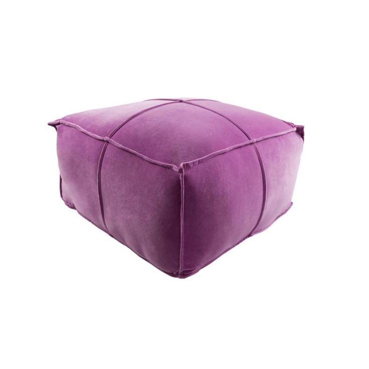 "24"" x 13"" Luxurious Quadrangle-Sided Plush Heliotrope Purple Cotton Square Pouf Ottoman"