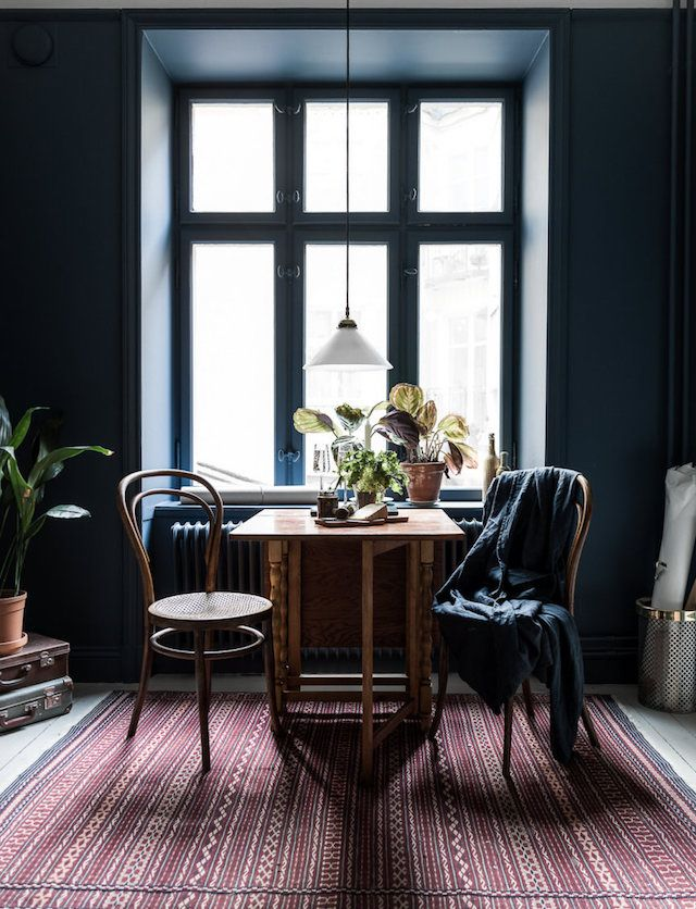 A Striking, Small Stockholm Space In Dark Blue