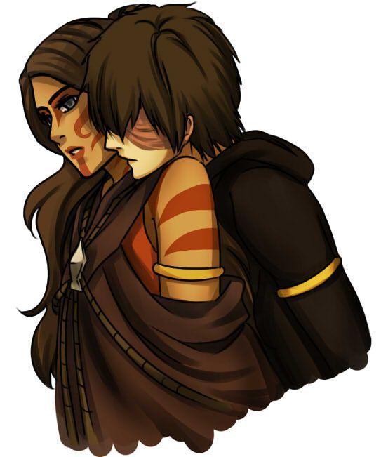 Kazuto and Katara Behind Hug