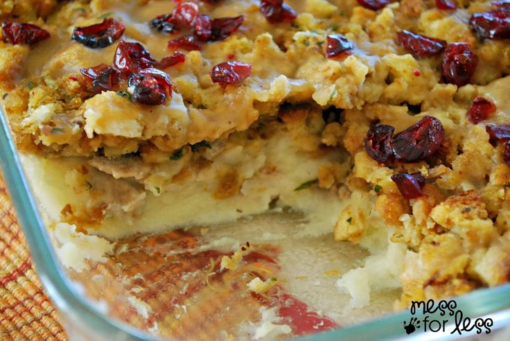 This recipe has over 12,000 pins!!  I think I would use real butter!  Great holiday or potluck dinner!!Thanksgiving Dinner Casserole | Mess For Less. This