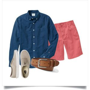 Polyvore: Navy OCBD, terracotta red shorts, tan leather belt, pale vintage khaki Vans Authentic.