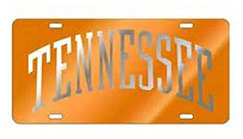 Tennessee Orange Back Ground with Silver (Tennessee) Laser Cut Inlaid Mirror Tags