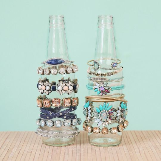 Transform glass bottles into displays for your favorite c+i #armcandi! #DIY