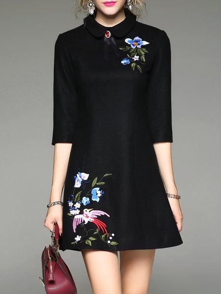 Shop Mini Dresses - Embroidered Half Sleeve A-line Elegant Wool Mini Dress online. Discover unique designers fashion at StyleWe.com.