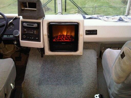 Creative RV fireplace installation. | modern camper ...