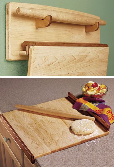 Baker's Trio - Pastry Board, Rolling Pin, & Wall Rack Woodworking Plan from WOOD Magazine