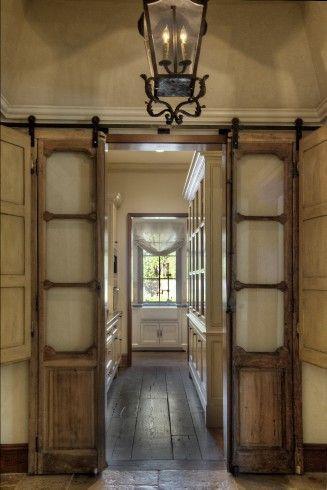 Antique doors on barn door sliders