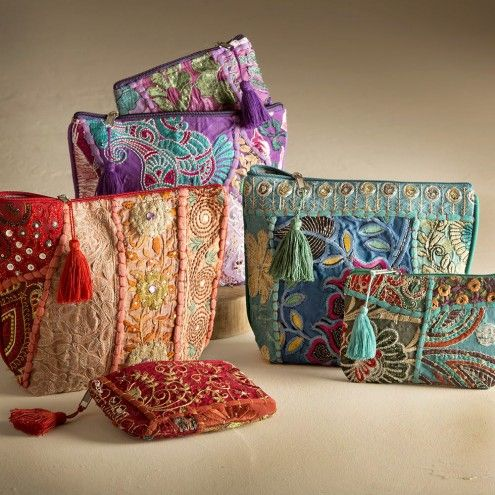 Recycled Sari Fabric Pouches - Set of 2 | VivaTerra