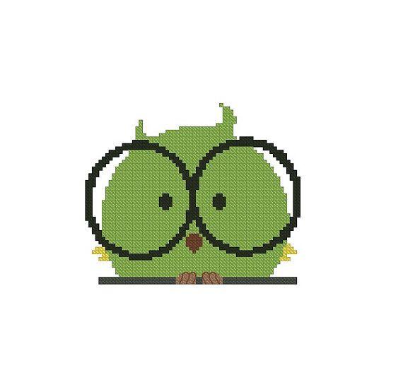 Cross stitch pattern PDF Bird with Glasses by CrossStitchForYou