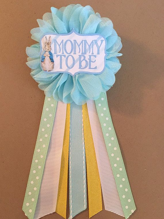 Peter rabbit blue Baby Shower Mommy-to-be Flower Ribbon Pin Corsage Glitter Rhinestone Mommy Mom New Mom