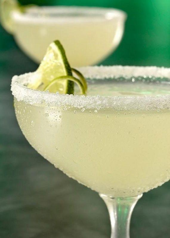 Classic margarita cocktail - just tequila, orange liqueur (such as Cointreau, Grand Marnier, triple sec), fresh lime juice and a salted rim.