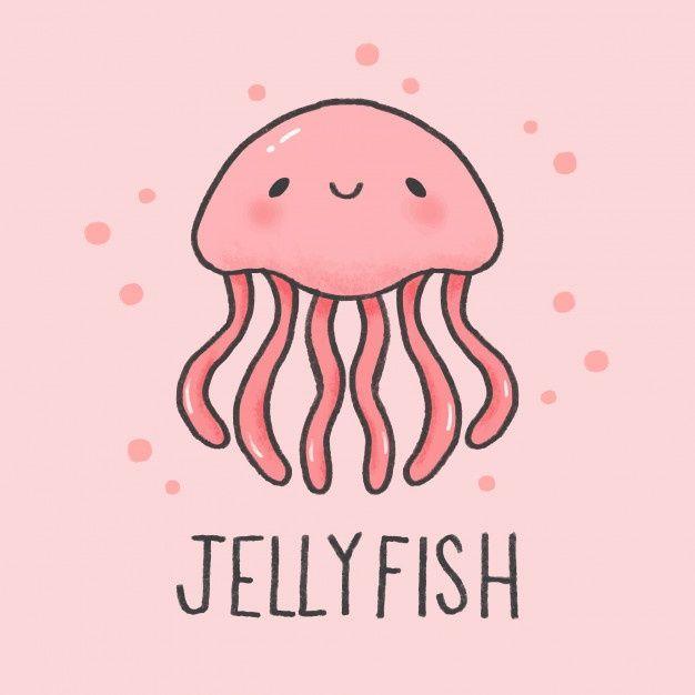 Cute Jellyfish Cartoon Hand Drawn Style Jellyfish Painting Jellyfish Drawing Cute Cartoon Drawings