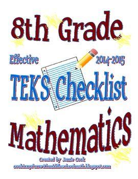 8th grade staar math teks checklist with new teks. Black Bedroom Furniture Sets. Home Design Ideas