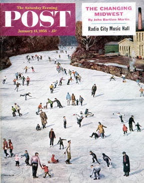 online shopping dresses Fox River Ice Skating by John Falter  January 11  1958   This is  my  family  on the cover  My aunt in the red scarf  my grandfather in the  overcoat with the boy on the sled and my Uncle  on the sled   dmsathome