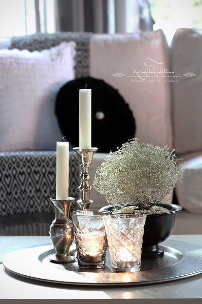 Coffee Table Decor - Tray Styling   Lillatirlittan. Or use silver candlesticks on round silver tray?