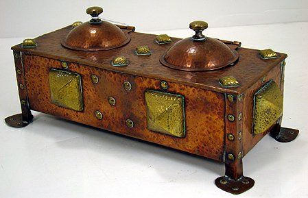 """English Arts & Crafts Hammered Copper & Brass Inkwell - 9-1/2"""" x 4"""""""
