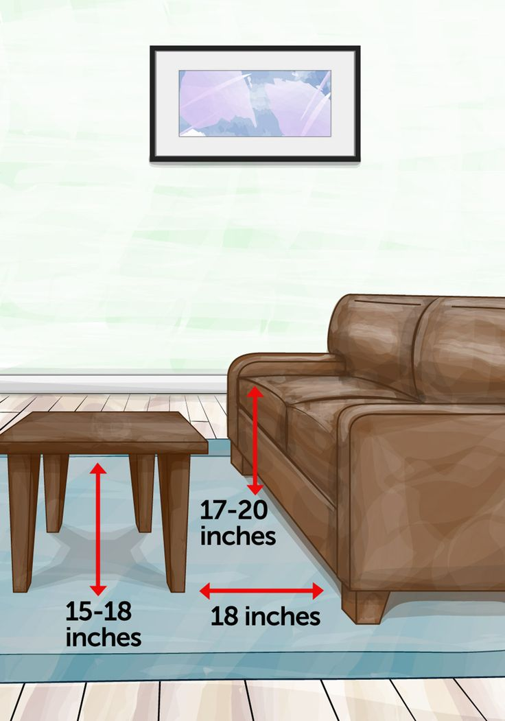 Coffee table measurements - how high, how far away from sofa