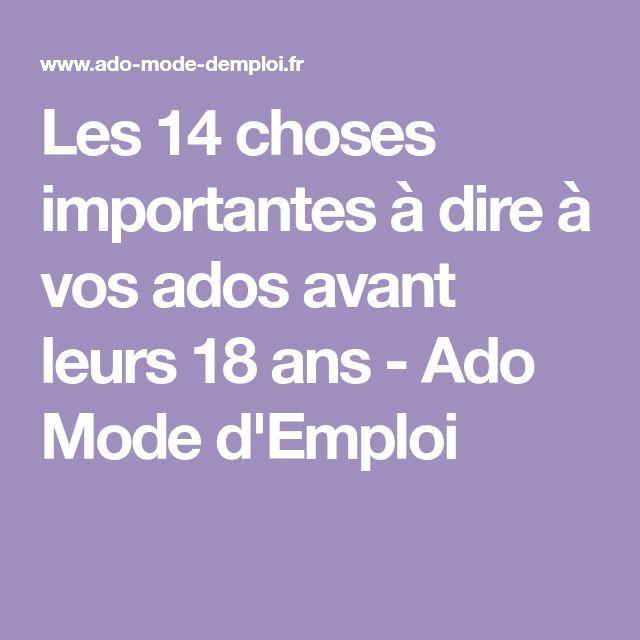 Les 14 choses importantes à dire à vos ados avant leurs 18 ans – Ado Mode d'Emploi – #à #ado #ados #ans #avant #choses #DEMPLOI #dire #importantes #les #leurs #Mode #vos