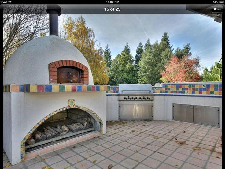 Outdoor pizza oven spanish style pinterest oven for Spanish style outdoor kitchen
