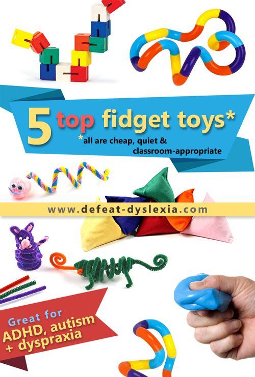 Top 5 fidget toys for dyspraxia, ADHD and autism. All of them are cheap, quiet and classroom-appropriate. Find out more at: www.defeat-dyslexia.com