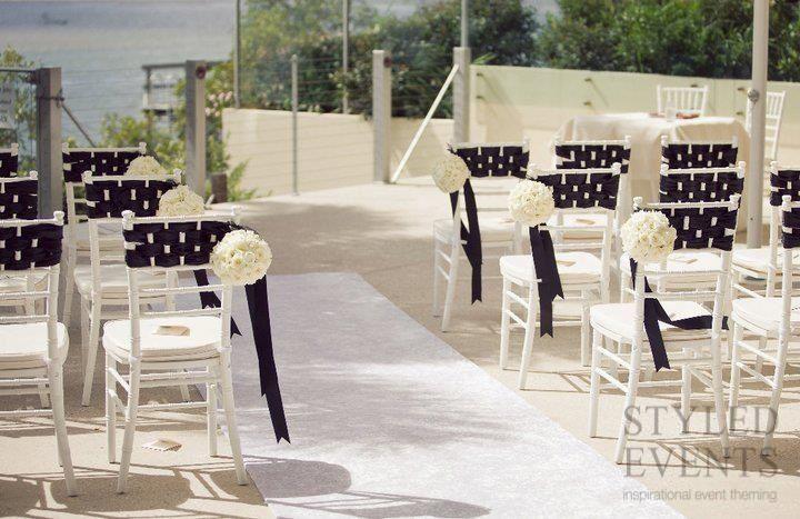 SLEEK BLACK AND WHITE  Styled Events at Ebb Waterfront Restaurant [Stewart Ross Photography] #styledevents #furniturehire #brisbaneevents #queensland #events #eventstyling #wedding #blackandwhite