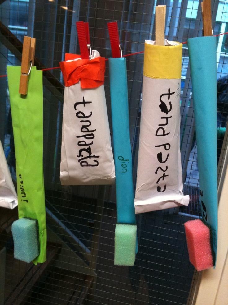 Thema tandarts, tandenborstel en tandpasta Voor de tandpasta, w.c rol en daarom heen papier wat wat langer is???