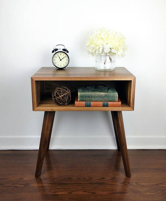 Nightstand Walnut / Bedside Table Wood / Mid Century Modern