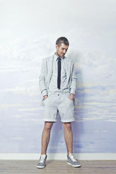 Mens gray sweatshirt shorts with gray blazer and collar shirt. All made of cotton