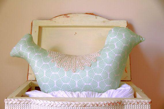 Elegant Shaped Bird & Doily Cushion