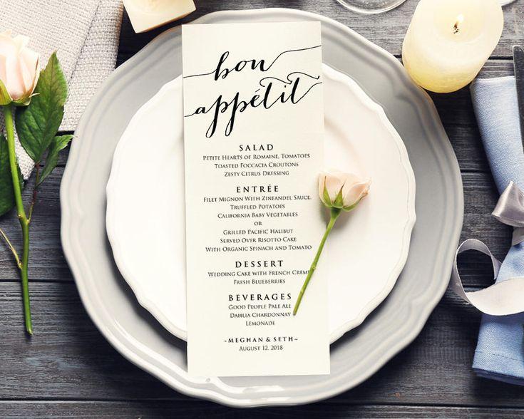 We love the way a menu enhances the elegance of a place setting!   Bon Appetit Wedding Menu   Menu Templates   Printable Wedding Stationery   Bon Appetit Wedding Menu   Reception Ideas   Wedding Place Settings   #weddingmenu #weddingstationery