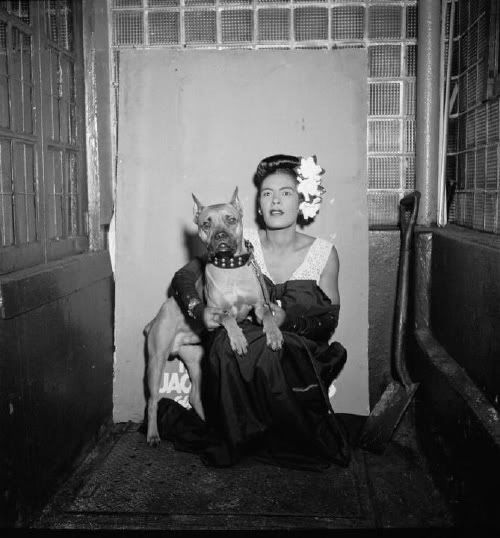 Billie Holiday with her Pit Bull, Mr. Downbeat.