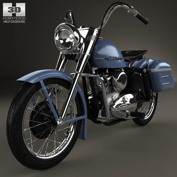 Harley-Davidson Model K 1953 3d model from humster3d.com. Price: $75