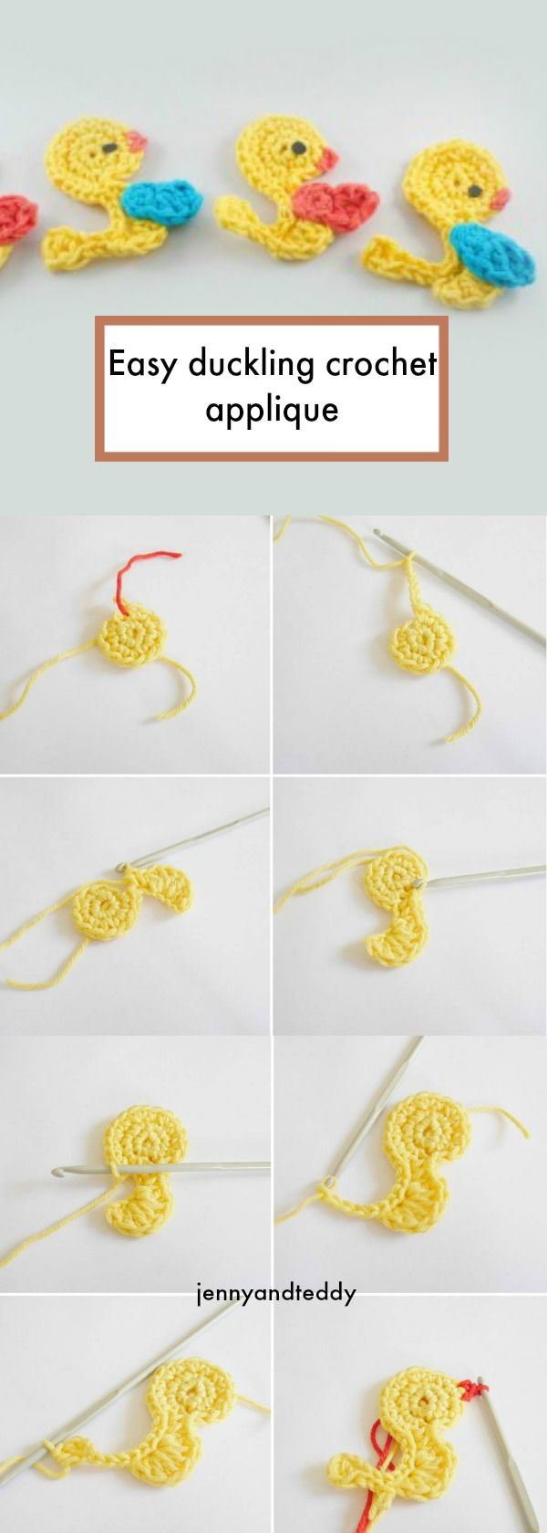 free easy crochet duckling applique by jennyandteddy