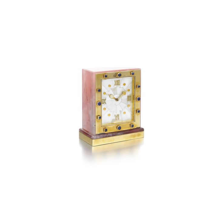 Mother-of-pearl, rose quartz and sapphire timepiece, Cartier, 1930s