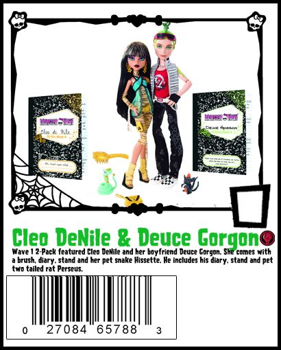 Wave 1 Cleo DeNile and Deuce Gorgan include two stands, diaries, brush and pets Hisset and Perseus