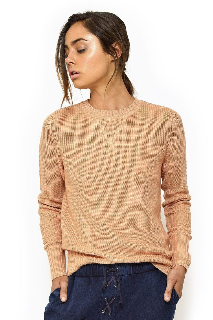First Base - Classic Knit Sweater In Camel