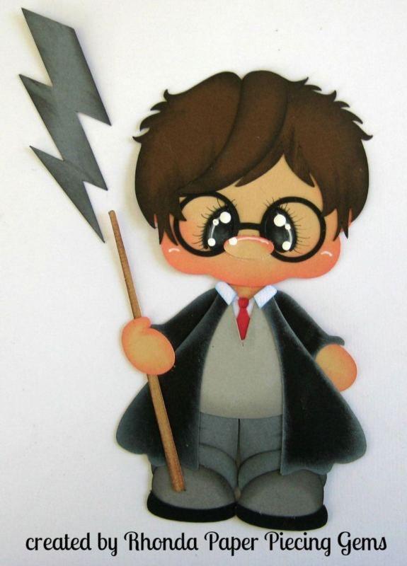 Harry Potter Chico Paper Piecing para páginas de álbumes de recortes prefabricados por Rhonda