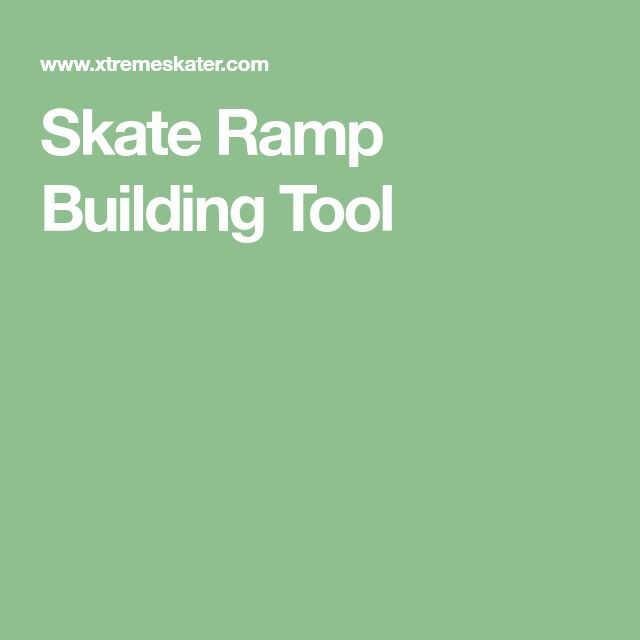 Skate Ramp Building Tool