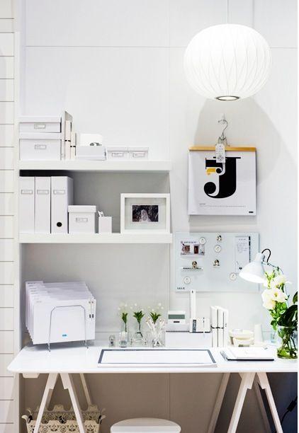 office shelving: Offices Design, White Desks, Offices Spaces, Small Offices, Work Spaces, Work Desks, Workspaces, Desks Spaces, Home Offices