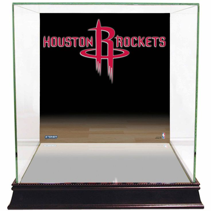Steiner Sports Glass Basketball Display Case with Houston Rockets Logo Background, Multicolor