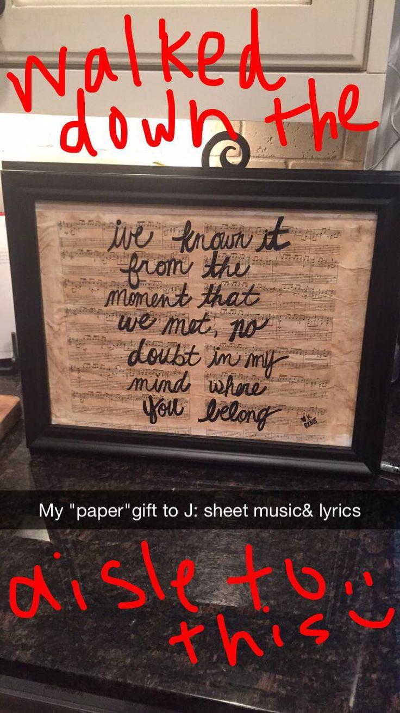 Scrapbook ideas one year anniversary - Simple Diy 1st Year Paper Anniversary Gift Song Lyrics Written On Guitar Sheet