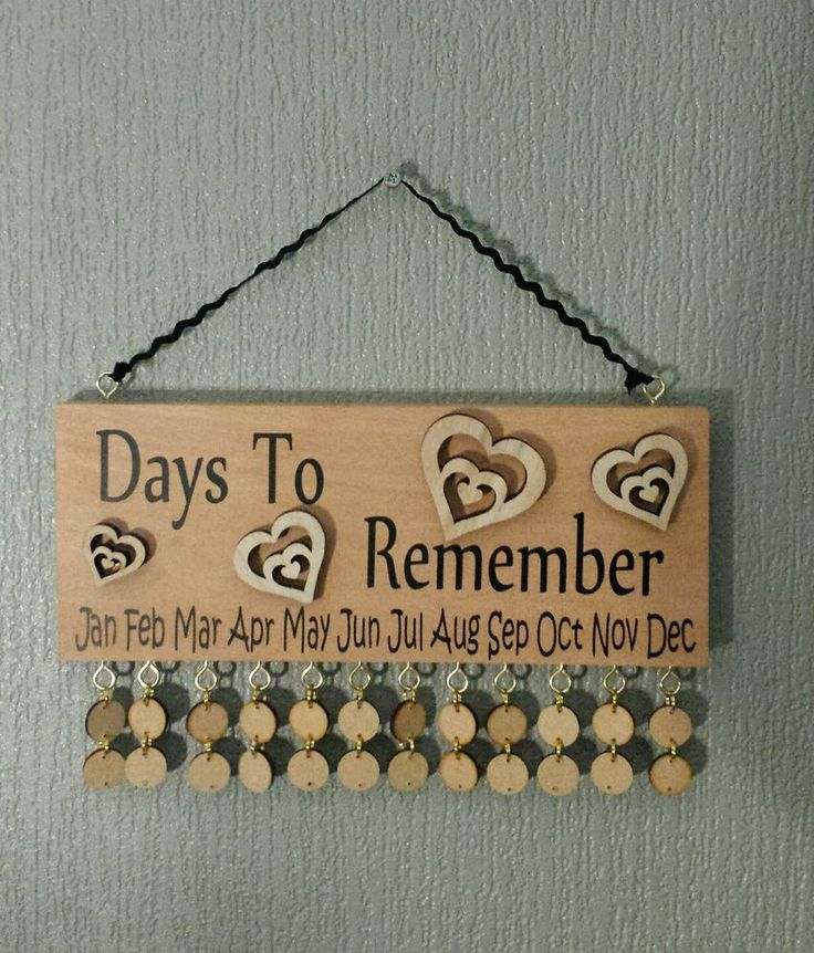 Wooden Family Birthday Reminder. Beech block with HEARTS Calendar Plaque in Home, Furniture & DIY, Home Decor, Plaques & Signs | eBay