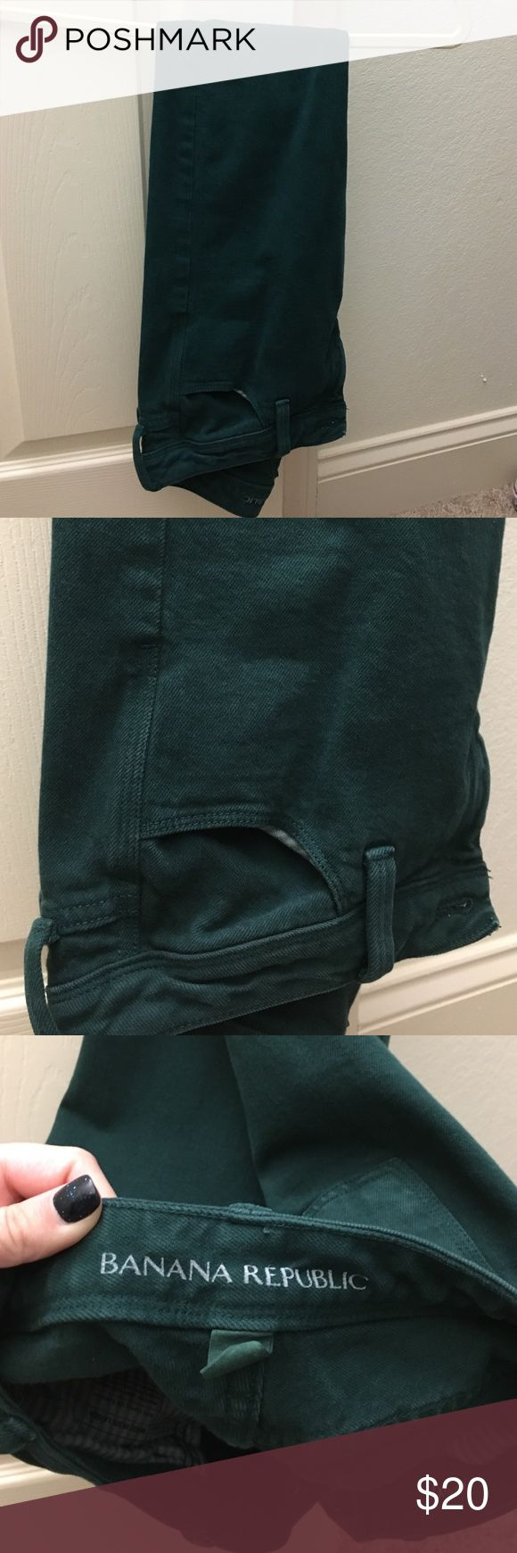 Banana Republic dark green ankle length jeans Dark green Banana Republic jeans ankle length. Worm a handful of times. Size 24P. Perfect for fall/winter wardrobe Banana Republic Jeans Ankle & Cropped