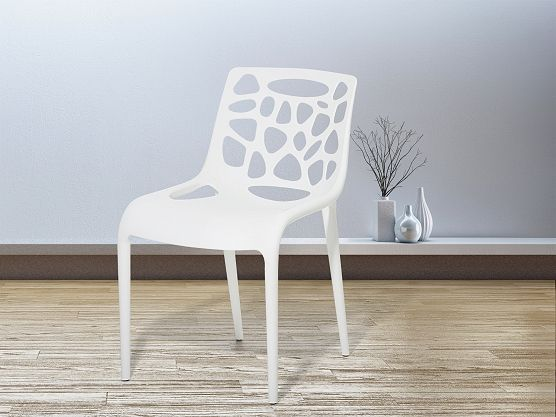Plastic Garden Dining Chair - MORGAN - White