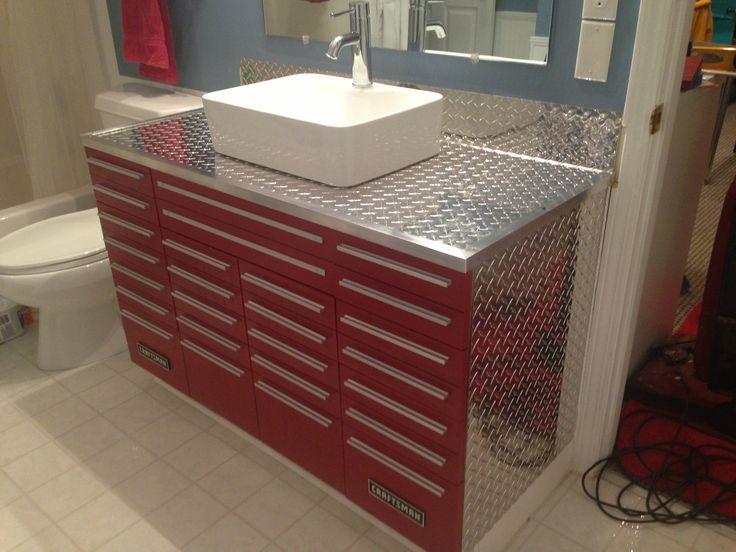 Craftsman Tool Box Vanity with Vessel Sink | Vanity ...