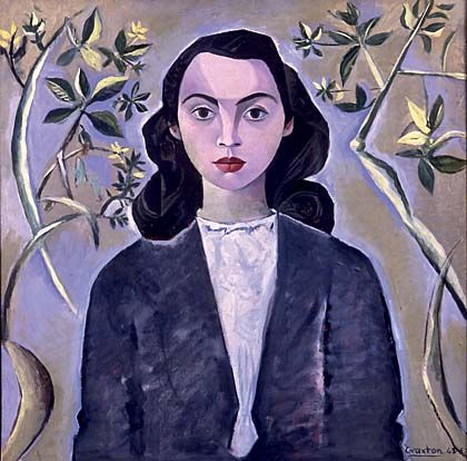 John Craxton - a painted portrait of a young woman with brown eyes and black hair
